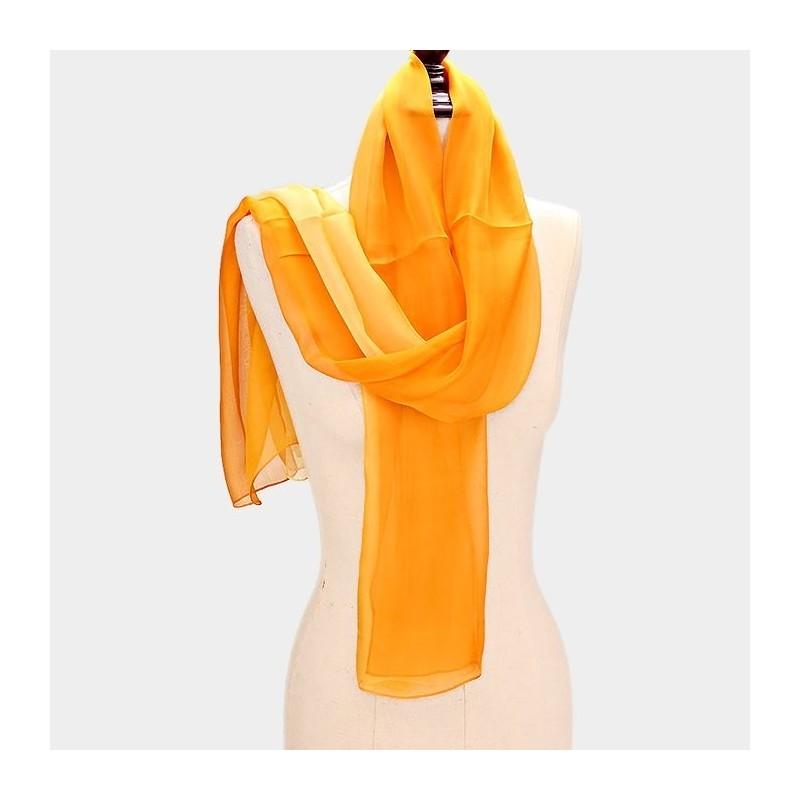 Foulard Etole en soie jaune orange