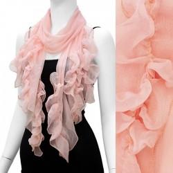 Foulard Etole voile froncé rose