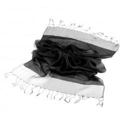 Foulard Etole en soie bi-matière rouge