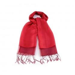 Etole en soie bi-matière rouge