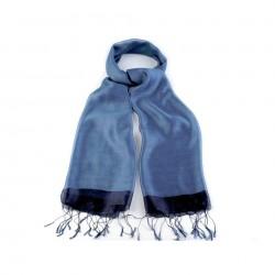 Etole en soie bi-matière bleu