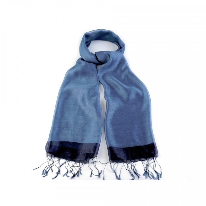 Foulard Etole en soie bi-matière bleu