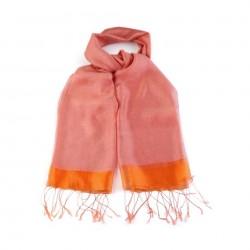 Foulard Etole en soie bi-matière orange corail