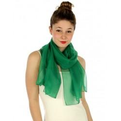 Foulard Etole voile léger vert gazon