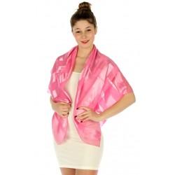 Foulard Etole en satin rayé rose clair