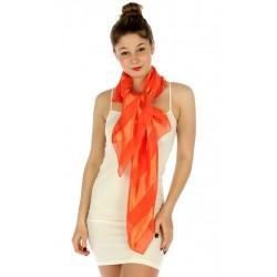 Foulard Etole en satin rayé orange