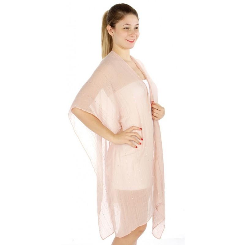 Foulard Etole légère rose et sequins argent
