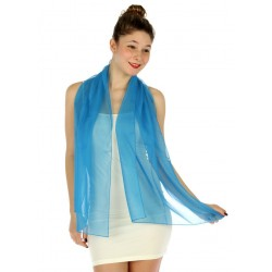 Foulard Etole en voile léger bleu