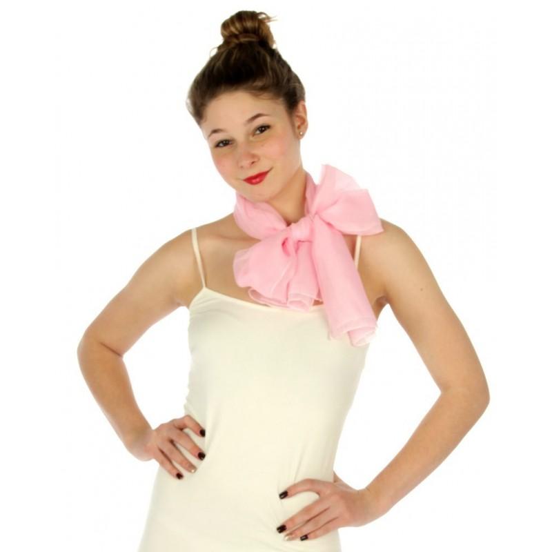 Foulard Etole voile léger rose pâle