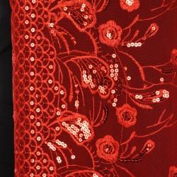 Foulard Etole voile et sequins rouges
