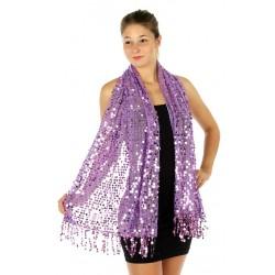 Foulard Etole sequins brillants violet mauve