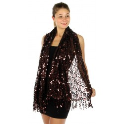 Foulard Etole sequins brillants marron