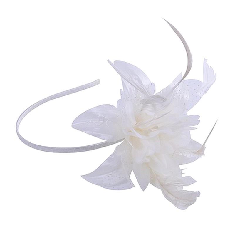 Chapeau mariage Headband avec fleur et plumes ivoire