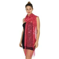 Foulard Etole voile et sequins rose fuchsia