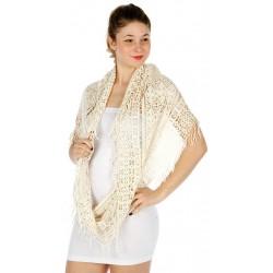Foulard Etole infinie snood crochet ivoire