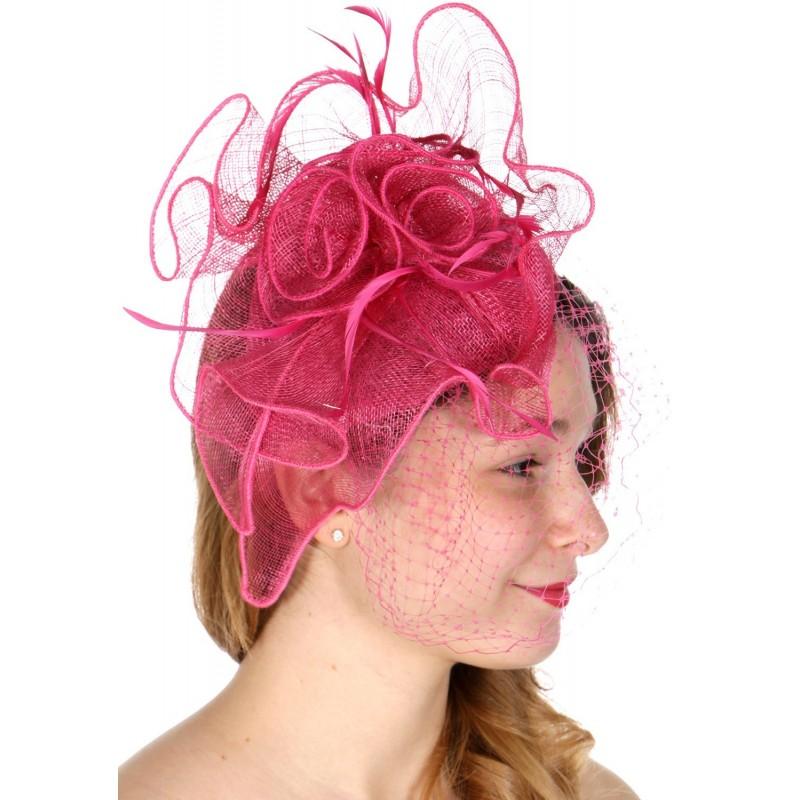 Chapeau mariage Bibi coiffure en sisal rose fuchsia