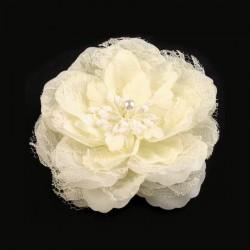 Fleur cheveux ou broche ivoire11 cm