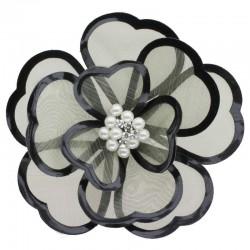 Fleur noire organza cuir et perles