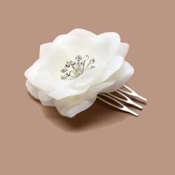 Chapeau mariage Petit peigne fleur et strass blanc