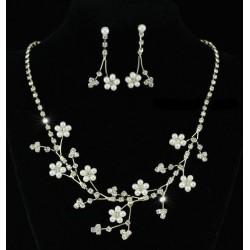 Parure bijoux mariage fleurs cristal or