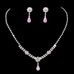 Parure bijoux mariage goutte cristal rose