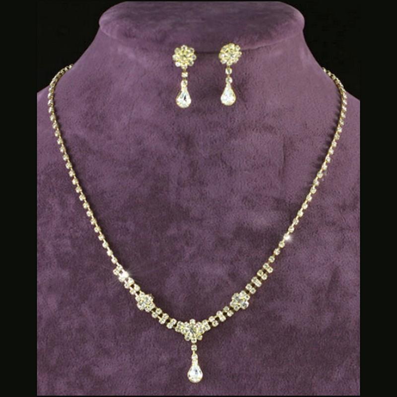 Parure bijoux mariage goutte cristal or