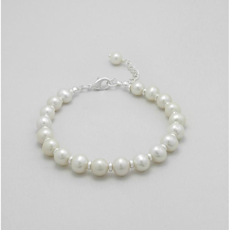Bracelet mariage perles et argent