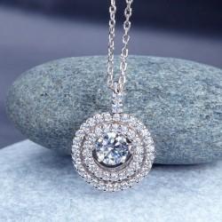 Collier cristal pendentif rond pierre dansante