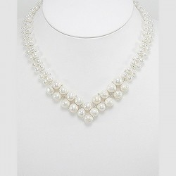 Collier mariage perles double V