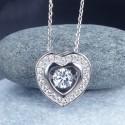 Collier cristal pendentif coeur pierre dansante