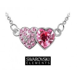 Collier double coeur cristal Swarovski rose fuschia
