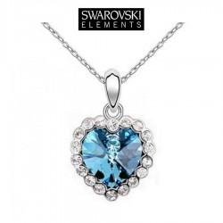 Collier pendentif coeur turquoise cristal Swarovski