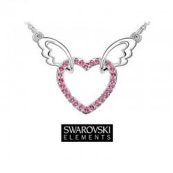 Collier coeur ailes d'ange cristal Swarovski rose fuschia