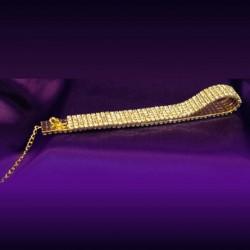 Collier ras de cou doré 5 rangs cristal