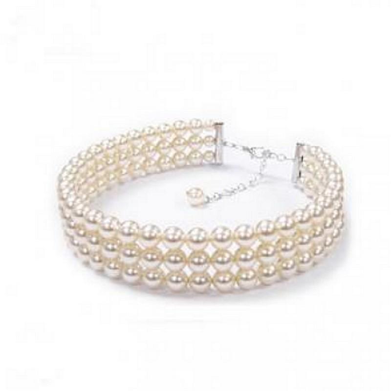 Collier mariée 3 rangs perles
