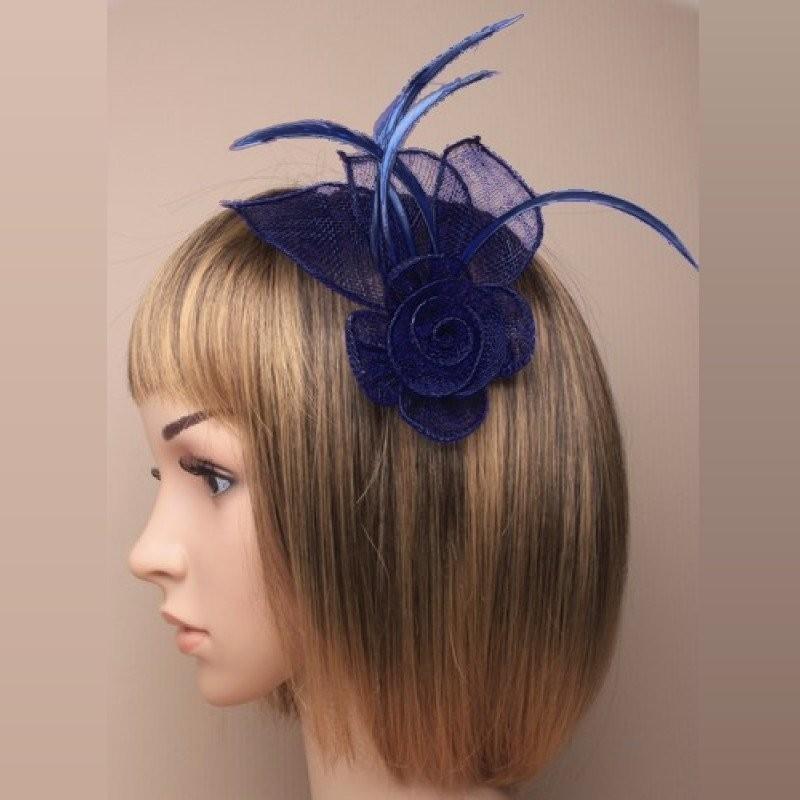 Chapeau mariage Accessoire cheveux ou broche bleu marine