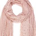 Foulard Etole ajourée rose peche scintillante