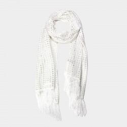 Foulard Etole ajourée blanche scintillante