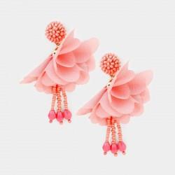 Boucles d'oreilles fleur voile corail
