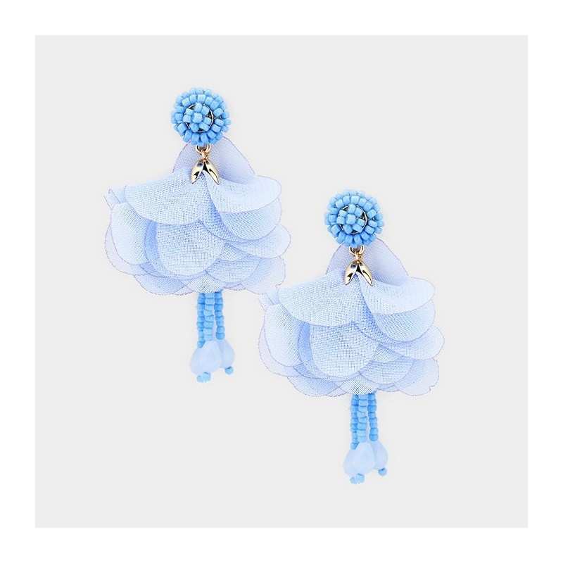 Boucles d'oreilles fleur voile bleu ciel