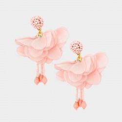 Boucles d'oreilles fleur voile rose