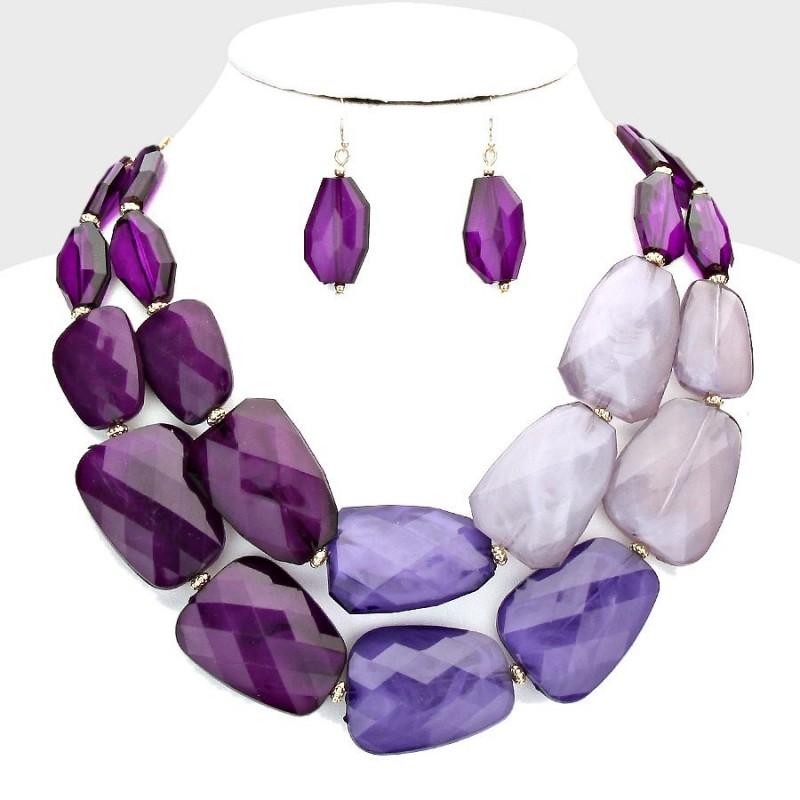 parure de bijoux grosses pierres r sine violet. Black Bedroom Furniture Sets. Home Design Ideas