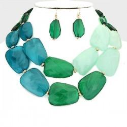 Parure de bijoux grosses pierres résine vert