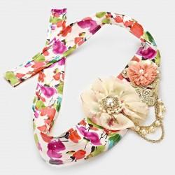 Chapeau mariage Headband fantaisie fleurs et perles multicolore