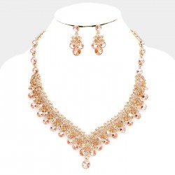Parure de bijoux cristal peche et or rose
