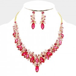 Parure de bijoux cristal rose fuchsia