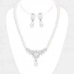Parure de bijoux perles et gouttes blanc