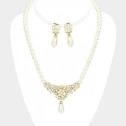 Parure bijoux perles et gouttes ivoire et or