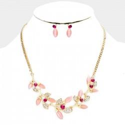 Parure bijoux dorée rose fushia et cristal