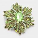 Broche cristal vert et jaune